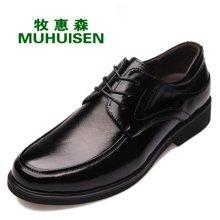牧惠森新款男士頭層牛皮系帶皮鞋簡約正裝商務百搭男鞋 19068