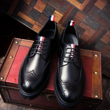 Simier布洛克厚底小皮鞋男英伦男鞋增高潮鞋XB3505
