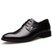 俊斯特 男士奢华鳄鱼纹尖头时尚舒适系带商务皮鞋