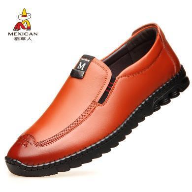 稻草人男鞋商务皮鞋男士休闲鞋男鞋时尚男鞋英伦男鞋潮流男鞋一脚蹬男鞋懒人鞋男鞋DC1856