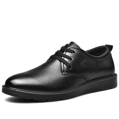 富貴鳥男士休閑皮鞋潮 透氣牛皮商務單鞋 男鞋厚底爸爸鞋