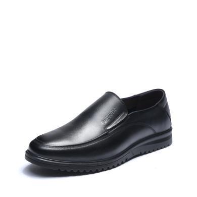 富贵鸟男鞋 头层牛皮男士套脚商务休闲鞋男皮鞋 S809025