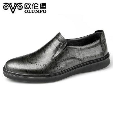 Olunpo/歐倫堡春夏新款真皮休閑男鞋時尚商務鞋英倫德比鞋CTDX1702