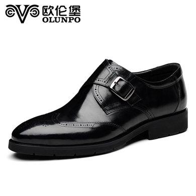 歐倫堡春季新品真皮時尚休閑鞋鞋男士辦公低幫德比鞋英倫商務鞋 優質真皮 標準皮鞋碼QZS1703