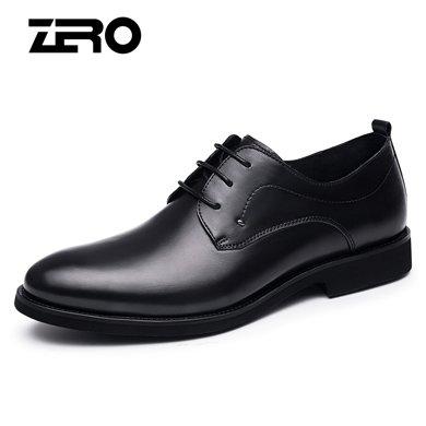 Zero零度皮鞋男春季新款商務正裝真皮鞋男真皮系帶婚鞋西裝鞋