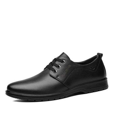 富贵鸟春季?#34892;?#20241;闲皮鞋男韩版系带软皮鞋子商务正装?#38041;?#30382;鞋