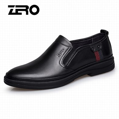 Zero零度皮鞋秋冬新款商務休閑鞋英倫套腳頭層牛皮男士真皮皮鞋