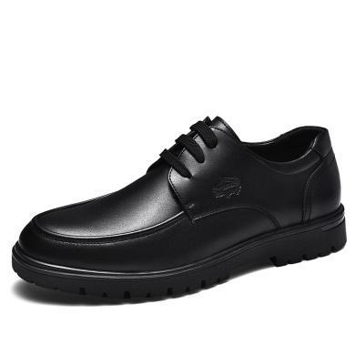 卡帝樂鱷魚新款皮鞋男爸爸商務休閑皮鞋男士厚底正裝透氣真皮辦公皮鞋KDL6965