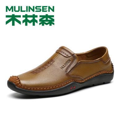 木林森男鞋春季休閑皮鞋懶人軟底單鞋豆豆鞋頭層牛皮爸爸鞋S199006