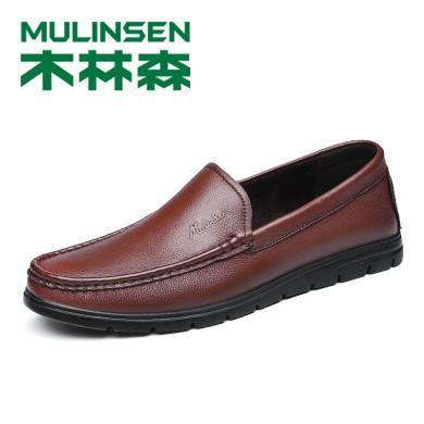 木林森男鞋新款潮流百搭休閑皮鞋頭層牛皮豆豆鞋時尚套腳懶人鞋298010