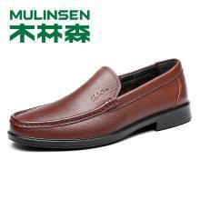 木林森男鞋新款商务休闲皮鞋软底套脚豆豆鞋子298009