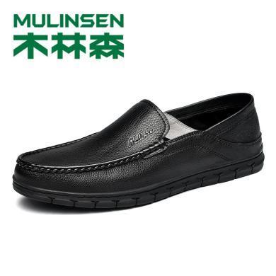 木林森休閑皮鞋頭層牛皮軟面皮2019款新品軟底懶人豆豆男鞋298011