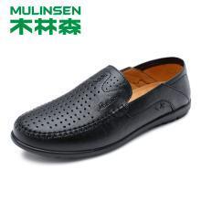 木林森男鞋夏季镂空透气休闲皮鞋头层牛皮软皮软底爸爸驾车鞋S199005S