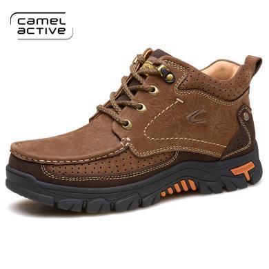 德国骆驼动感棉鞋男冬季男士休闲皮鞋加绒保暖?#34892;?#39640;帮鞋皮鞋子男 A6661
