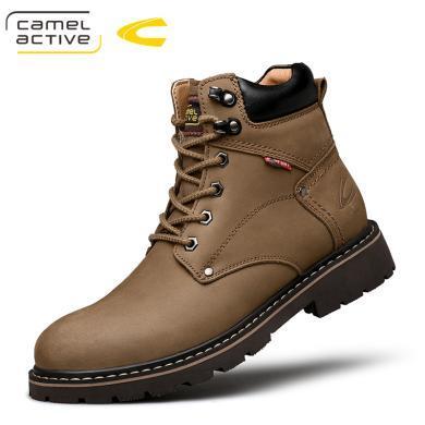 德國駱駝動感冬季加絨復古工裝靴高幫馬丁靴男中幫真羊毛手工短靴 19508