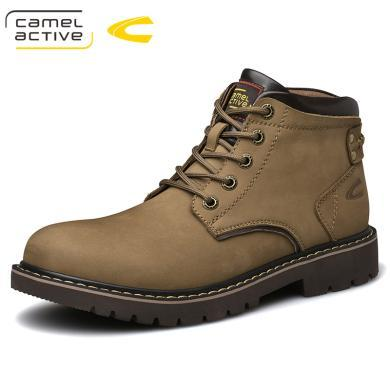 德國駱駝動感冬季加絨保暖棉靴頭層牛皮馬丁靴男士牛皮工裝雪地靴 19518
