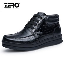 零度尚品男靴冬季新品时尚商务皮靴英伦男士短靴子