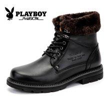 花花公子雪地靴男士加绒高帮商务皮鞋牛皮靴子冬季保暖棉鞋爸爸鞋CX39140M