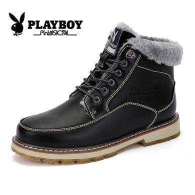 花花公子马丁靴高帮棉靴冬季牛皮靴子男士保暖棉鞋加绒短靴雪地靴CX39149M