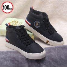 100KM猩猩猴 新款男士高帮男板鞋运动休闲鞋韩版冬季加绒保暖棉鞋潮鞋