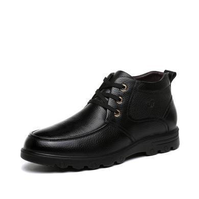 富貴鳥休閑男鞋男士爸爸中老年鞋保暖加絨棉鞋加厚
