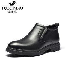 富貴鳥男鞋男士休閑短毛絨高幫套腳皮鞋男 D803902C