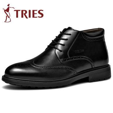 才子棉靴冬季加絨保暖棉靴男鞋子高幫棉鞋男士商務棉靴休閑布洛克皮鞋雪地靴潮CZ2803Z