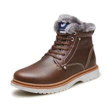 富贵鸟雪地靴东北冬靴冬季男鞋棉鞋高腰保暖加绒棉靴子牛皮带毛鞋男