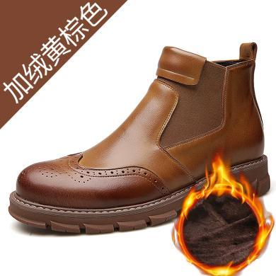 承發加絨馬丁靴男2018新款男士休閑保暖棉靴時尚潮流切爾西靴牛皮靴子12630-1