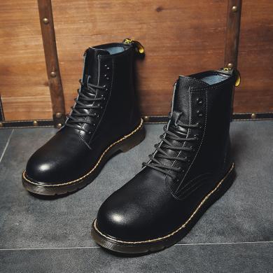 潮牌秋冬新款馬丁靴男短靴潮流靴子男士高幫皮鞋情侶款英倫風百搭中幫工裝靴TX-M1602