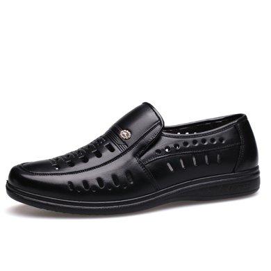 牧惠森新品秋季男士头层牛皮镂空套脚皮鞋?#38041;?#21830;务休闲?#34892;?HM6028