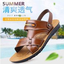 牧惠森新款夏季头层牛皮男士凉鞋沙滩鞋舒适休闲两用凉拖男鞋 508-1
