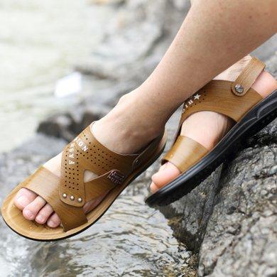 牧惠森新款夏季男士涼鞋沙灘鞋露趾防滑休閑兩用涼拖男鞋 7709