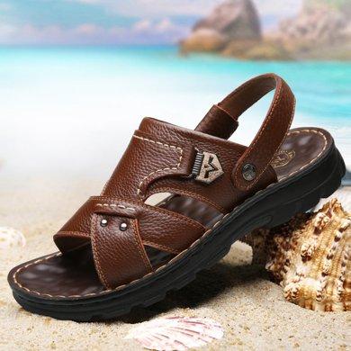 承发新款头层沙滩鞋男士休闲凉拖鞋青少年牛皮拖鞋时尚鞋子  104988