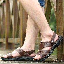 承发夏季男士休闲牛皮凉鞋头层牛皮沙滩鞋厚底透气拖鞋 103218