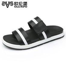 Olunpo/欧伦堡夏季新款真皮男鞋透气休闲沙滩鞋时尚凉鞋 标准皮鞋码XYX1704