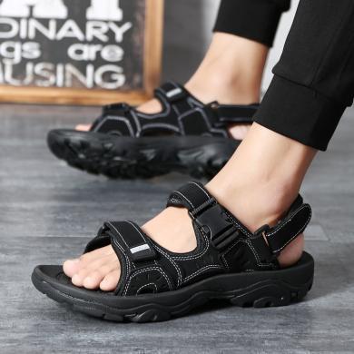 美骆世家2019新款夏季真皮凉鞋男潮流凉拖鞋户外休闲鞋运动沙滩鞋越南JL-F16