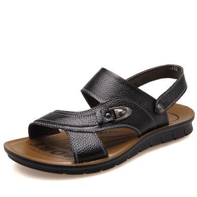 牧惠森新品夏季男士頭層牛皮涼鞋沙灘鞋舒適透氣休閑男鞋 HM2702