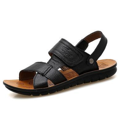 卡帝樂鱷魚夏季男士涼鞋真皮休閑沙灘鞋男式兩用防滑軟底涼拖鞋潮KDL515