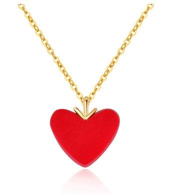ARMASA阿瑪莎18K金小紅心愛心項鏈桃心吊墜K黃金鎖骨套鏈送女友禮物