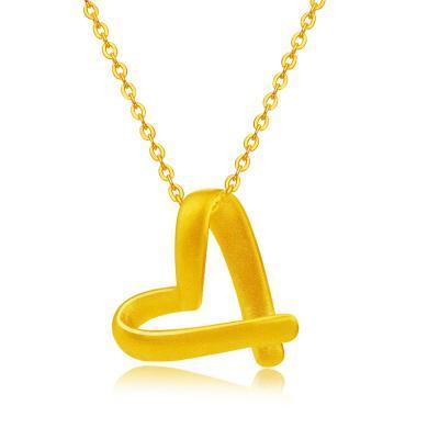 Cerana黃金項鏈吊墜足金硬金絲帶心形項鏈吊墜