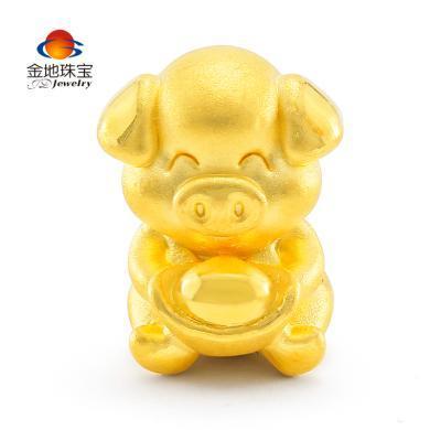 金地珠寶3D硬金金豬抱財黃金手串男女款生肖豬足金手串