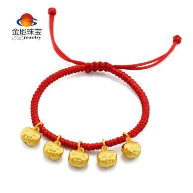 金地珠宝足金可爱生肖猪红绳手链?#24179;?#25163;链红绳足金生肖猪红绳手链
