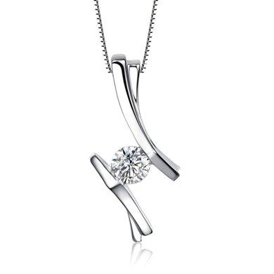 佐卡伊 REALME 白18k金钻石吊坠女项链项坠时尚结婚项坠女款珠宝
