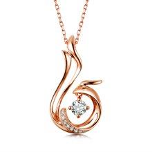佐卡伊 凤求凰 18K钻石吊坠项链项坠女送女友情人节礼物珠宝首饰