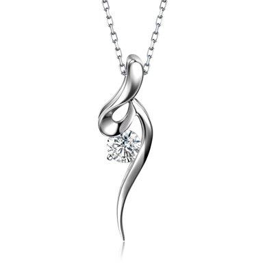 佐卡伊 优雅 白18k金钻石吊坠项坠项链女款送银链送女友礼物