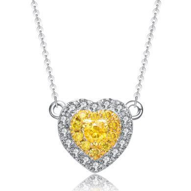 Cerana 18K金钻石项链吊坠黄钻吊坠爱?#30007;男?#21514;坠项链