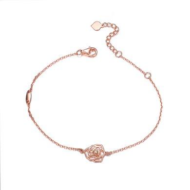 佐卡伊玫瑰18K金鉆石手鏈鉆石手鐲正品時尚女款玫瑰花造型 珠寶