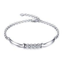 佐卡伊-天使之吻 精美白18k金钻石手链正品女款结婚 珠宝首饰