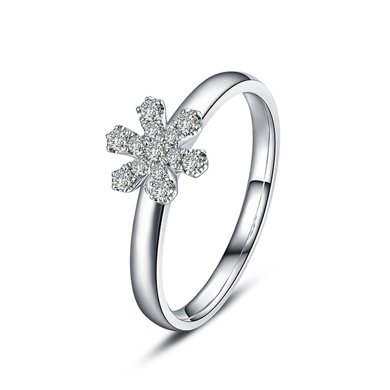 佐卡伊18k金鉆戒求婚結婚戒指時尚群鑲鉆石女戒正品初雪系列
